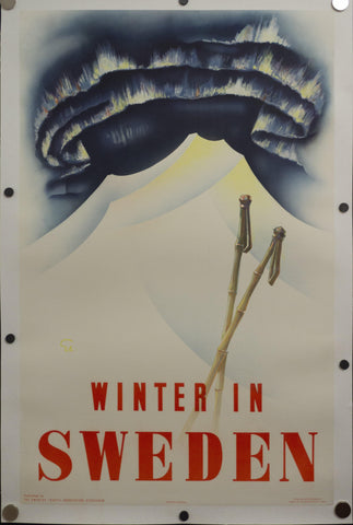 1935 Winter In Sweden Northern Lights