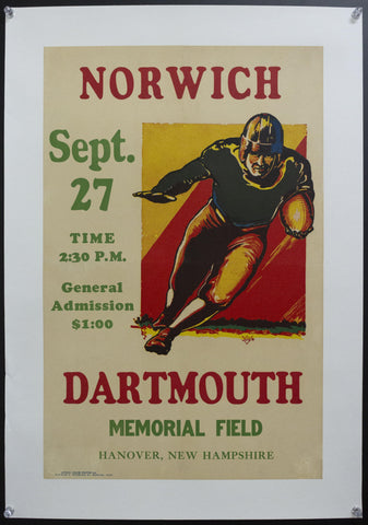 1924 Dartmouth vs Norwich College Football Game Poster National Championship Era - Golden Age Posters