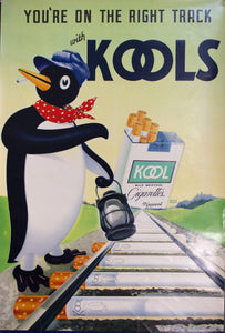 c. 1940s You're On The Right Track With Kools Cigarettes Penguin Railroad Engineer