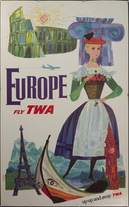 c. 1960s Europe Fly TWA by David Klein - Golden Age Posters