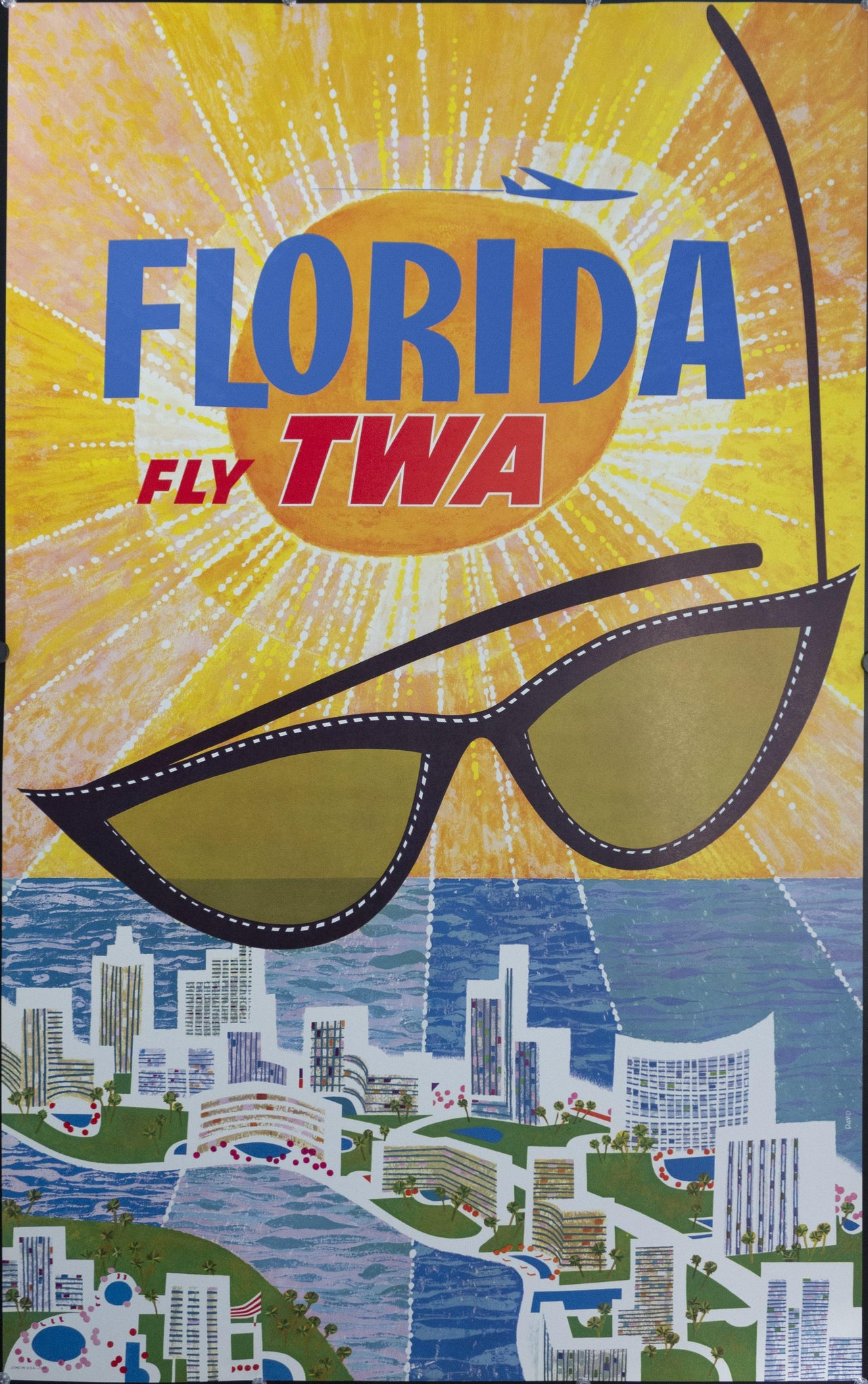 c. 1960s Florida Fly TWA by David Klein - Golden Age Posters