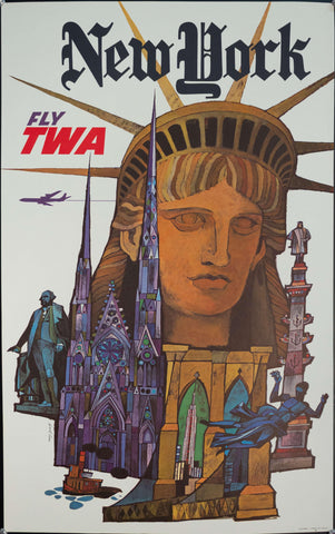 c. 1960s New York Fly TWA by David Klein