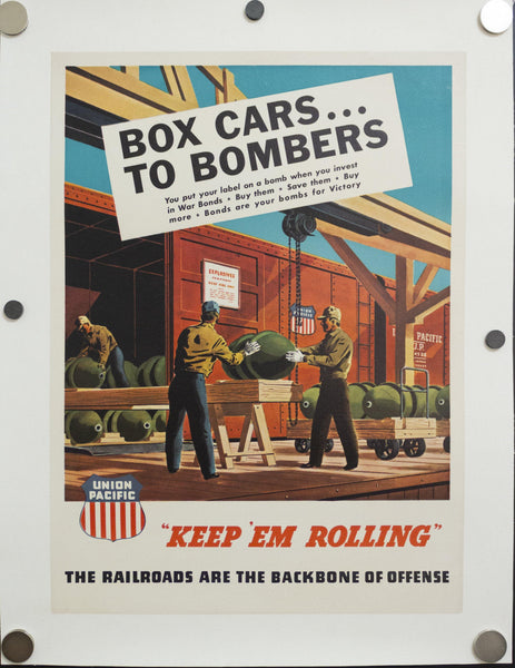 c.1944 Union Pacific Railroad Keep Em Rolling Box Cars To Bombers WWII Home Front