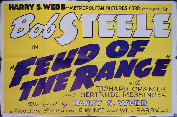 1939 Feud of the Range 3-Sheet Movie Poster