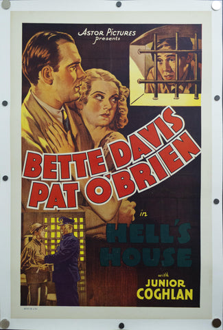 R-1937 Hell's House One Sheet Movie Poster Bette Davis Pat O'Brien Crime Drama