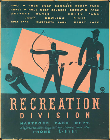 c. 1935 WPA Recreation Division | Hartford Park Dept. | Archery - Golden Age Posters