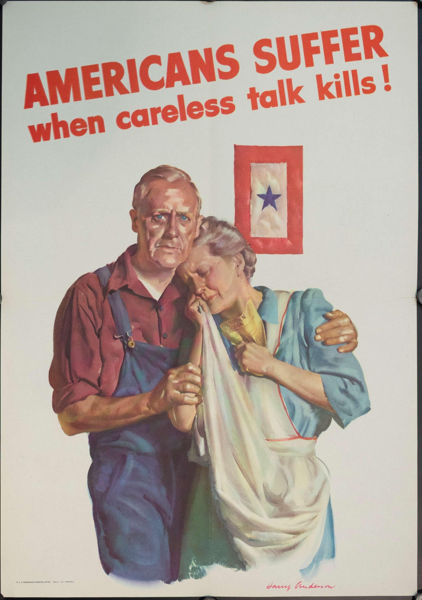 1943 Americans Suffer When Careless Talk Kills! - Golden Age Posters