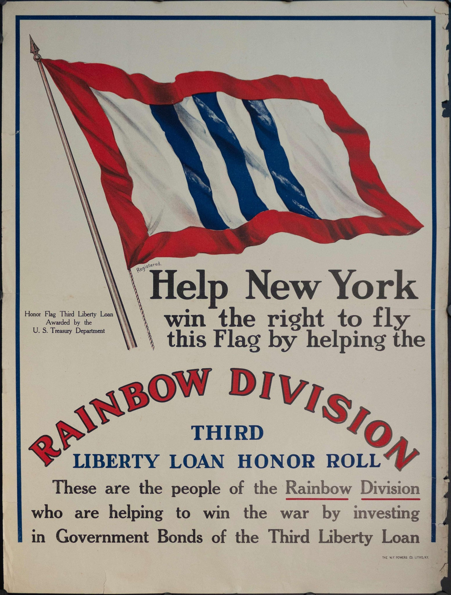 1917 Help New York Win the Right to Fly This Flag by Helping the Rainbow Division
