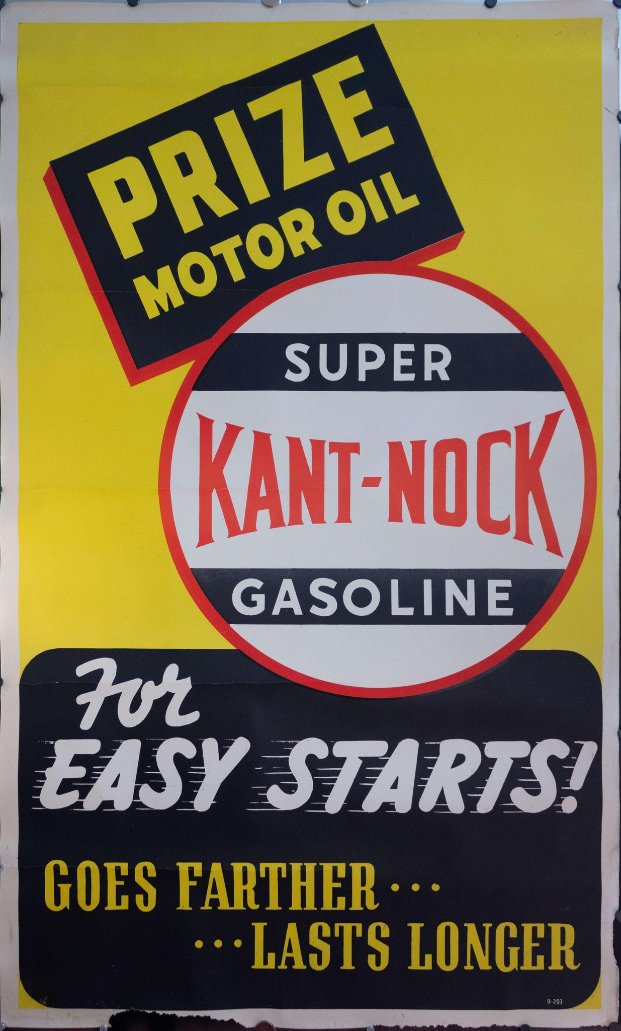 c. 1950s Prize Motor Oil | Super Kant-Nock Gasoline for Easy Starts! Sign - Golden Age Posters