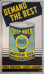 c. 1950s Demand The Best | Deep-Rock Prize Motor Oil Sign