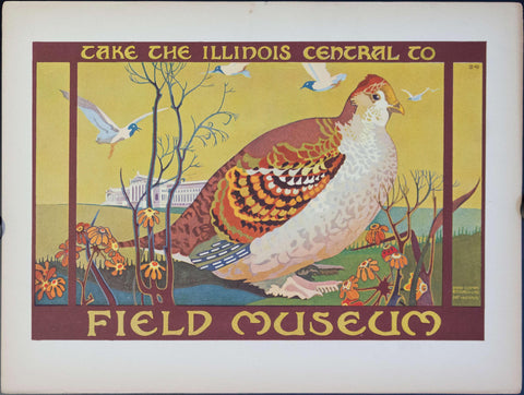 1925 Take the Illinois Central to Field Museum Bird - Golden Age Posters