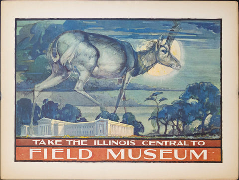 1925 Take the Illinois Central to Field Museum Deer - Golden Age Posters