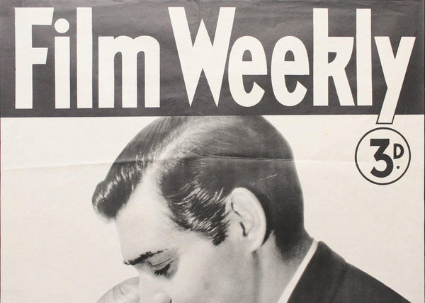 1939 Film Weekly Movie Magazine Newsstand Poster Clark Gable Norma Shearer