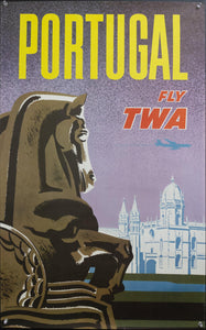 c.1960s Portugal Fly TWA Praca do Imperio