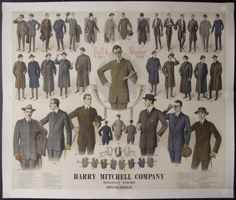1913 Harry Mitchell Merchant Tailor Men's Fall Winter Fashions Wall Chart Minneapolis