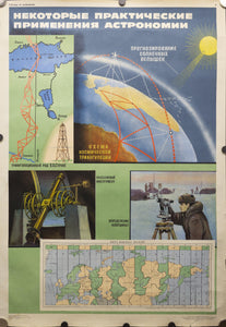 1970 Soviet Union Space Program Educational Practical Uses of Astronomy Kosmicheskaya - Golden Age Posters