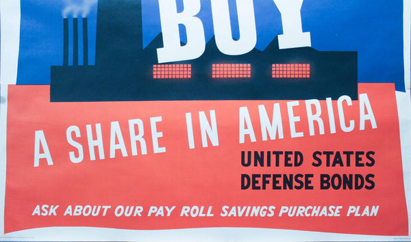 1941 Buy A Share In America by John Atherton MoMA Award Winner Largest Size
