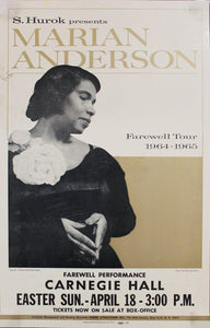 1965 Marian Anderson Farewell Tour Carnegie Hall Window Card Poster FINAL PERFORMANCE