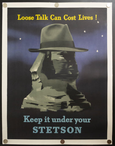 1942 Keep It Under Your Stetson by Edward McKnight Kauffer Loose Talk Can Costs Lives!