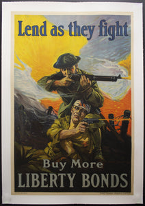 1918 Lend As They Fight Sidney Riesenberg Federal Reserve War Bonds WWI