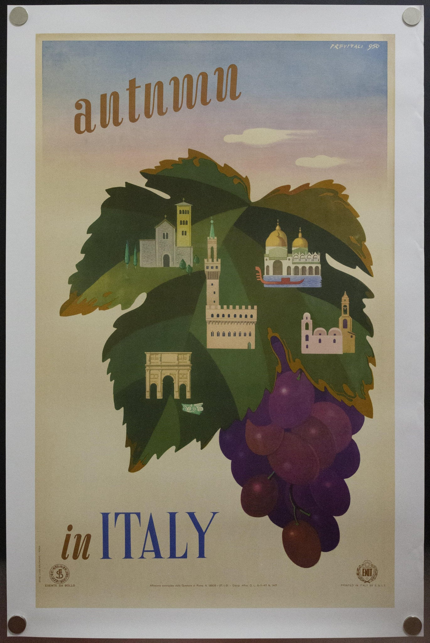 1951 Autumn in Italy by Previtali ENIT Italian Travel Wine Grapes - Golden Age Posters
