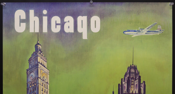 c.1950 United Air Lines Chicago Magnificent Mile Wrigley Building
