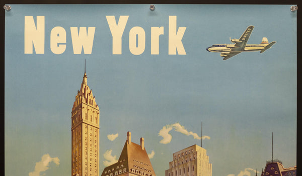 c.1950 United Air Lines New York by Joseph Feher Central Park