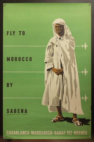 c.1955 Fly To Morocco By Sabena Belgian Air Lines <br>
