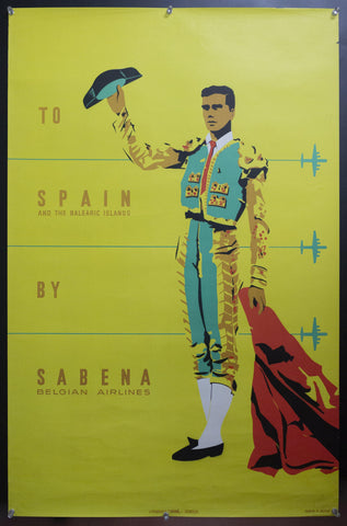 c.1955 To Spain And The Balearic Islands By Sabena Belgian Air Lines