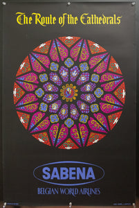c.1955 Sabena The Route of the Cathedrals Belgium Airline Stained Glass