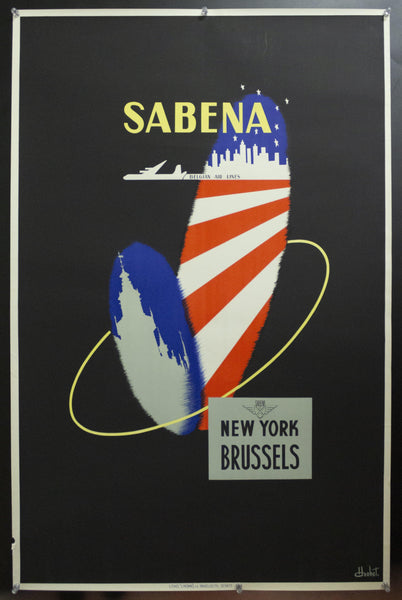 1950s SABENA Airlines Brussels New York by H. Honet Belgium Mid-Century Modern