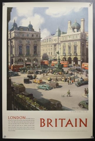 1954 London Piccadilly Circus by Leondard Squirrell British Travel and Holidays Association