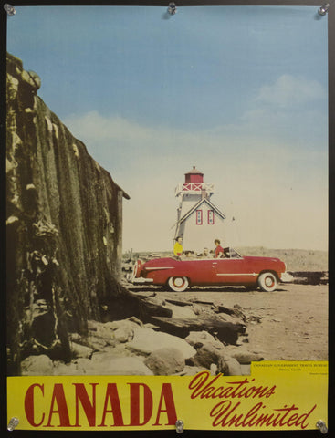 c.1950s Canada Vacations Unlimited Canadian Travel Bureau Red Convertible Beach