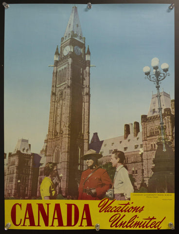 1950s Canada Vacations Unlimited Canadian Travel Bureau Mountie Parliament