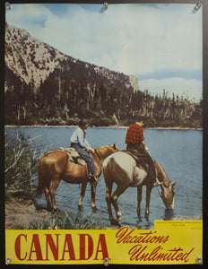 c.1955 Canada Vacations Unlimited Canadian Travel Bureau Horseback Tourists