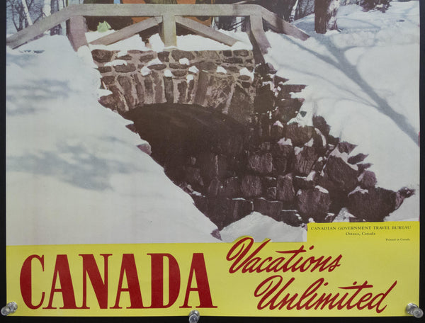 1950s Canada Vacations Unlimited Winter Wonderland Horse and Sleigh