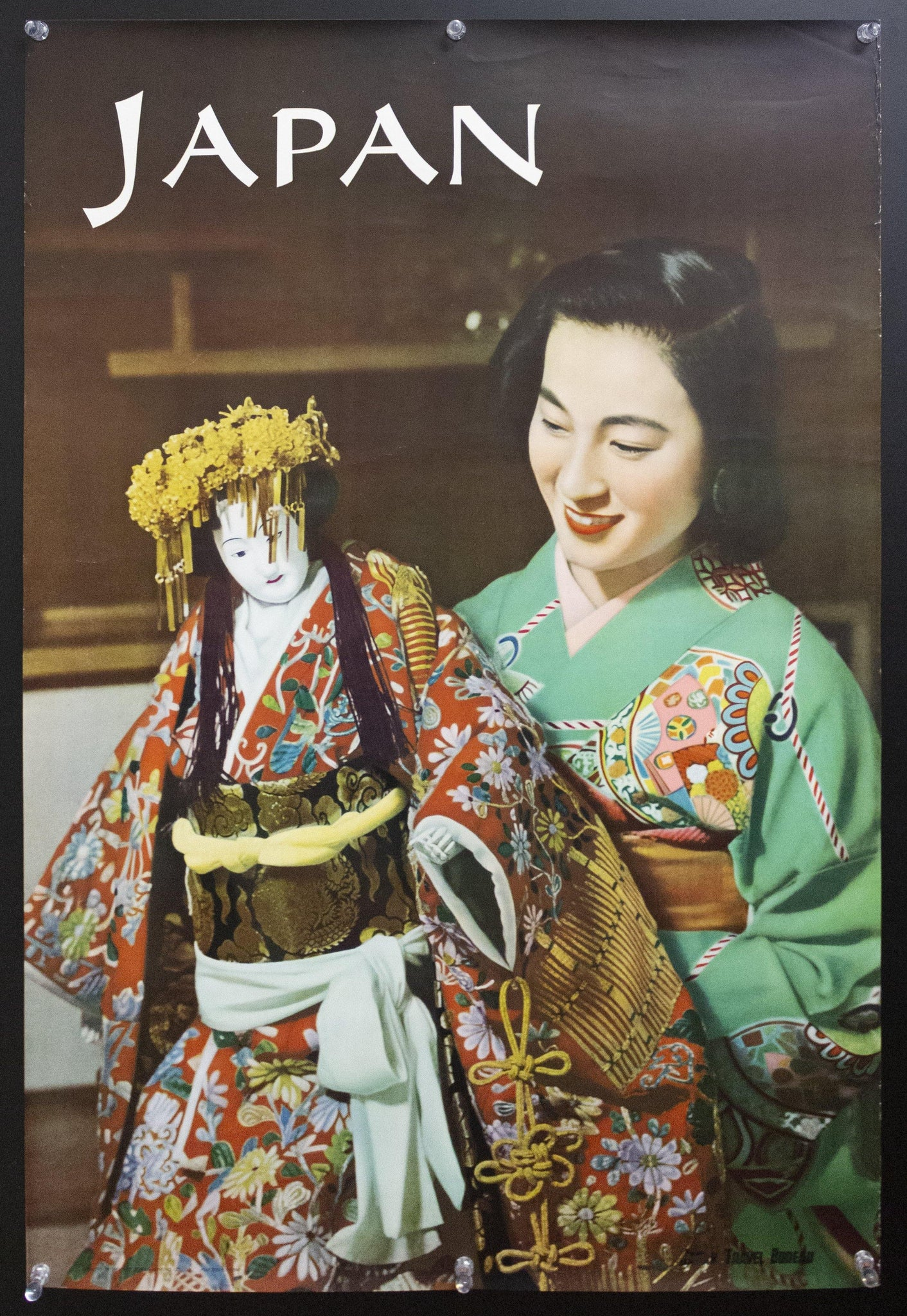 1953 Japan Travel Bureau Geisha Girl with Doll Japanese Travel Toppan Printing Co - Golden Age Posters