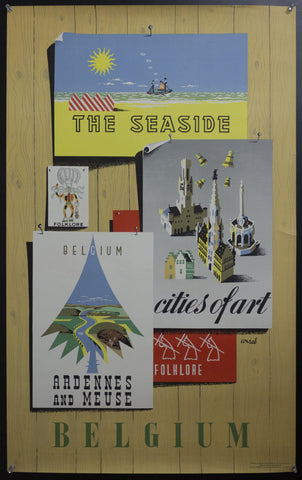 c.1954 Belgium Travel Montage by Frederic Conrad Cities of Art
