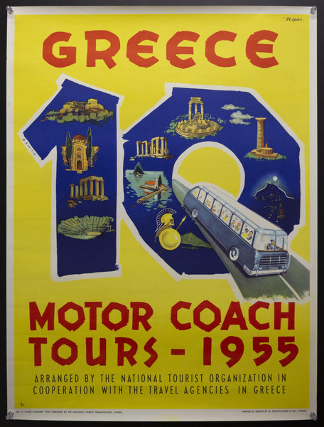 1955 Greece 10 Motor Coach Tours by S. Simitis M. Pechlivanides & Co.