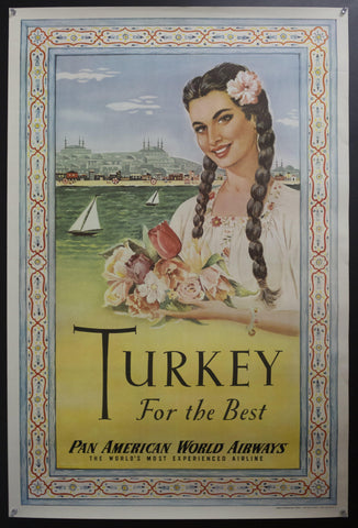 c.1950 Turkey For The Best Pan American World Airways Worlds Most Experienced Airline