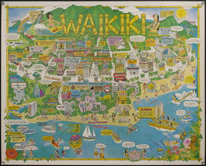 1983 Waikiki Honolulu Hawaii Pictorial Cartoon Map by Chuck Davis