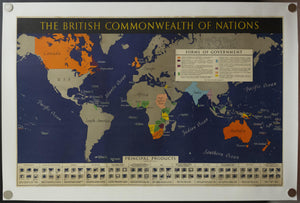 c.1942 The British Commonwealth of Nations World Map WWII - Golden Age Posters