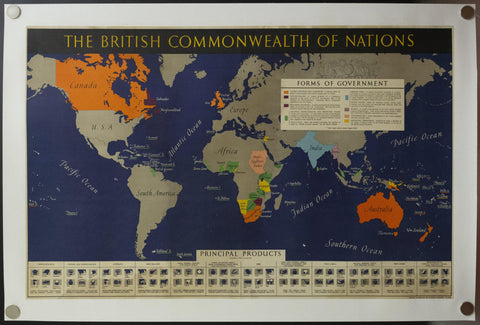 c.1942 The British Commonwealth of Nations World Map WWII
