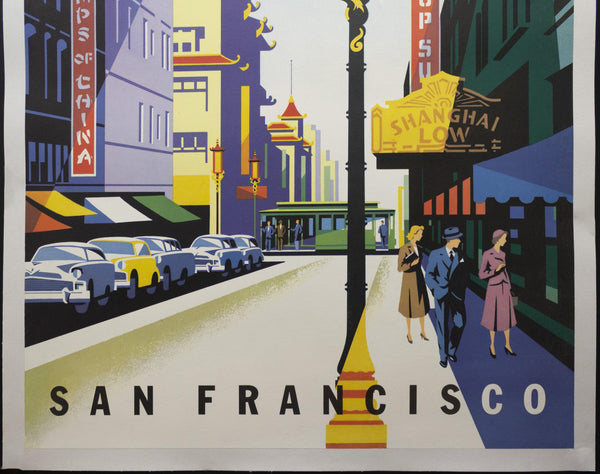 c.1950s United Air Lines San Francisco by Joseph Binder Chinatown