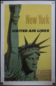 1960 United Air Lines New York City by Stan Galli Statue of Liberty Airlines