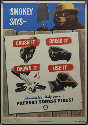 1949 USDA Forest Service Smokey Bear Says Only You Can Prevent Forest Fires James Hansen - Golden Age Posters