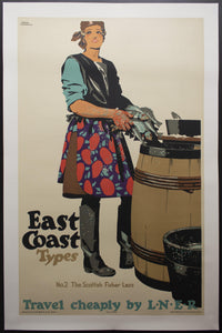 c.1931 East Coast Types No. 2 Scottish Fisher Lass Travel Cheaply by LNER Frank Newbould