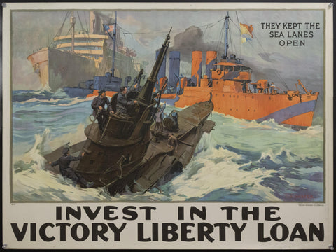 c.1918 They Kept The Sea Lanes Open Victory Liberty Loan Leon Alaric Shafer WWI