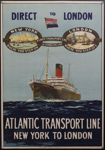 c.1923 Atlantic Transport Line New York To London Charles Nixon<br>