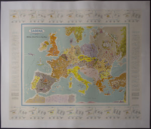 1961 Sabena Airlines Holidays Abroad Extra City Plans Europe Pictorial Map